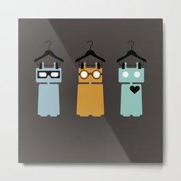 3 robots on hangers Metal Print