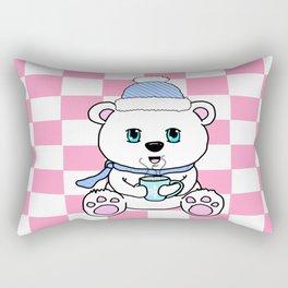 Polar Bear Drinking Hot Chocolate Rectangular Pillow