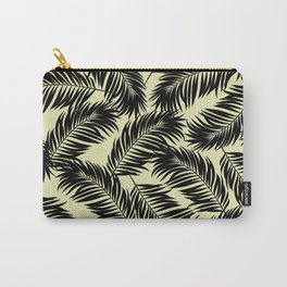 Palm Frond Tropical Décor Leaf Pattern Black on Yellow Carry-All Pouch