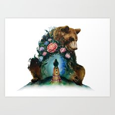 Flower & Bear Art Print