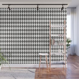 Pantone Pewter Gray Rippled Diamonds, Harlequin, Classic Rhombus Pattern Wall Mural