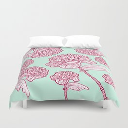 Barbed Wire Peony Floral in Coral Pink & Aqua Duvet Cover