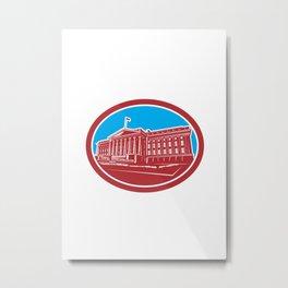 The Treasury Building Washington DC Woodcut Retro Metal Print