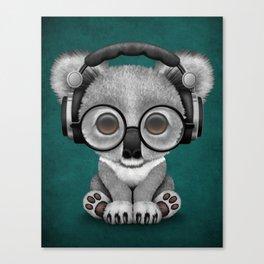 Cute Baby Koala Bear Dj Wearing Headphones on Blue Canvas Print