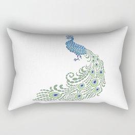 Jeweled Peacock on White Rectangular Pillow
