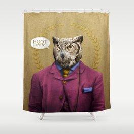 "Mr. Owl says: ""HOOT Happens!"" Shower Curtain"