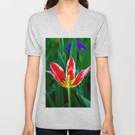 Decaying Red Tulip Flower Unisex V-Neck
