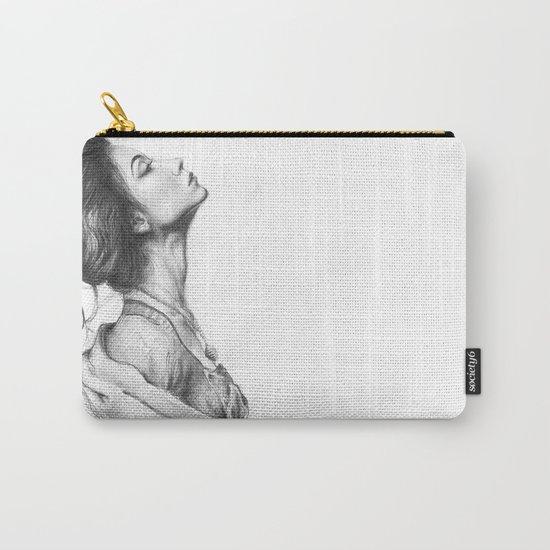 Pretty Lady Pencil Portrait Fashion Art Carry-All Pouch