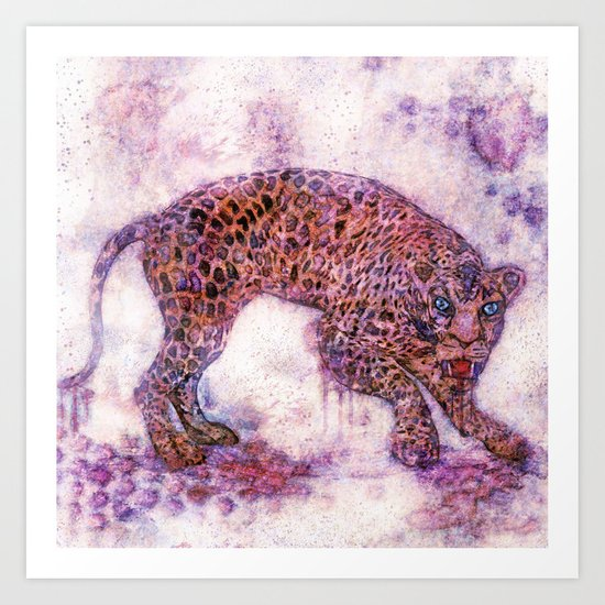 leopard splash ! Art Print