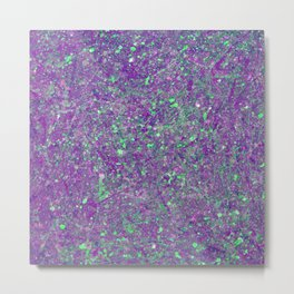 Abstract 25 - Study In Purple And Green Metal Print