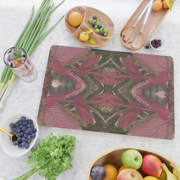 Red Shiso Warm Tones Pattern Cutting Board