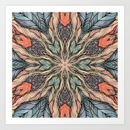 Autumn Leaves Mandala Art Print