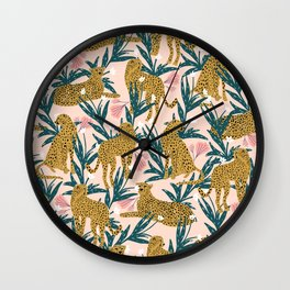 Cheetah jungle print on blush pink  Wall Clock
