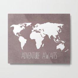 Adventure Awaits World Map Metal Print