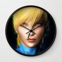 samus Wall Clocks featuring Samus Aran by Joe Roberts