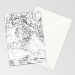 Vintage Map of The Mediterranean Sea (1891) BW Stationery Cards
