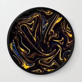 Marbled Swirl Paint Smear Design like a Bumble bee? Wall Clock