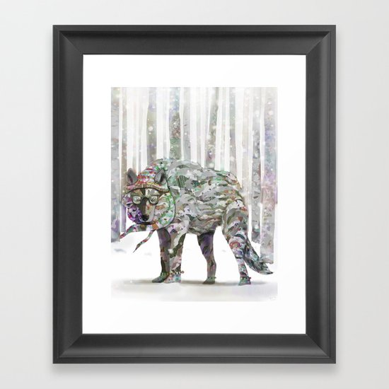 Winter Wonder Dog Framed Art Print