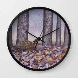 eastern box turtle in the forest Wall Clock