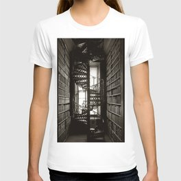 Trinity College, Dublin, Ireland, iron spiral stairs in Library College Long Room black and white photograph T-shirt