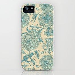 Garden Bliss - in teal & cream iPhone Case