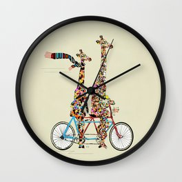 giraffe days lets tandem Wall Clock