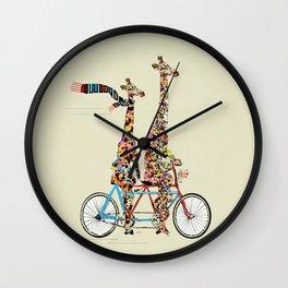 giraffe days lets tandem Wall Clock