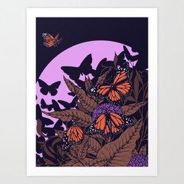 monarchs and milkweed Art Print