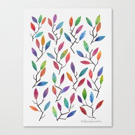 Leafy Twigs - Multicolored Canvas Print