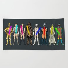Glow in the Dark Naughty Starwars Lightsabers  Beach Towel