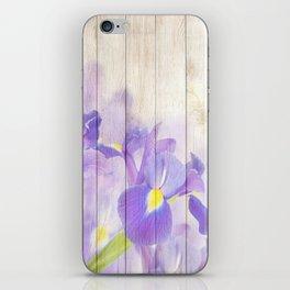 Romantic Vintage Shabby Chic Floral Wood Purple iPhone Skin