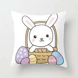 Bunny Rabbits Cute Animals Easter Bunny Eggs Pink Throw Pillow