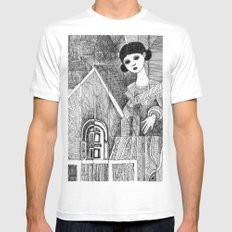 Girl on the top of her house. MEDIUM White Mens Fitted Tee