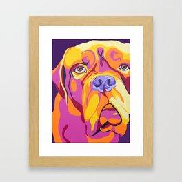 Psychedelic Pup- Bull Mastiff Pet Portrait Framed Art Print