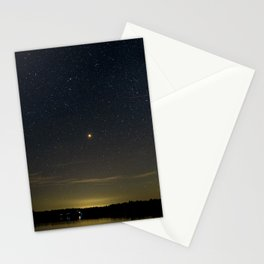Mars Milky Way and Stars on Lake Stationery Cards