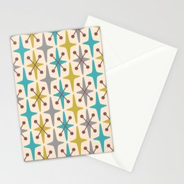 Mid Century Modern Abstract Star Pattern 441 Gray Brown Turquoise Olive Green Stationery Cards
