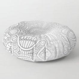 Silver Ethnic Pattern With Mandalas Floor Pillow