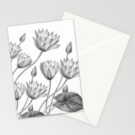 Water Lily Black And White Stationery Cards