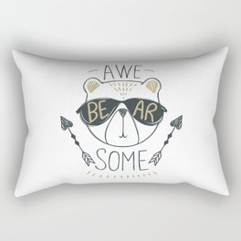 Awe Bear Some Awesome bear - Funny hand drawn quotes illustration. Funny humor. Life sayings. Rectangular Pillow
