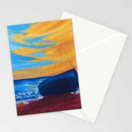 beach landscape painting, seascape art, boat art Stationery Cards
