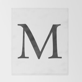 Letter M Initial Monogram Black and White Throw Blanket