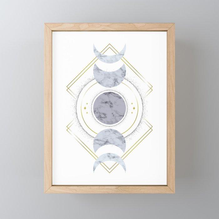 Marble Moon Phases Framed Mini Art Print