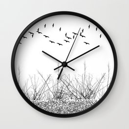 black and white winter landscape Wall Clock