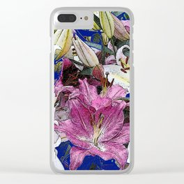 PURPLE & WHITE ASIAN GARDEN LILIES DRAWING Clear iPhone Case