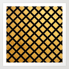 Black and Gold Geometric Pattern Art Print
