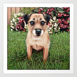 Cute Border Terrier Painting Art Print
