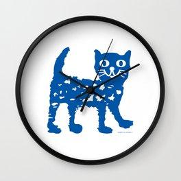 Navy blue cat pattern Wall Clock
