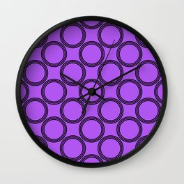 Double Rings pattern Design violet Wall Clock