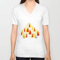 skateboard V-neck T-shirts featuring Flaming Skateboard by marcusmelton