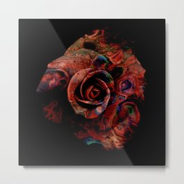 Fluid Nature - Marbled Red Rose Metal Print